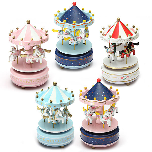 Wooden Carousel Music Box Birthday Wedding Clockwork Musical Gift Toy ...