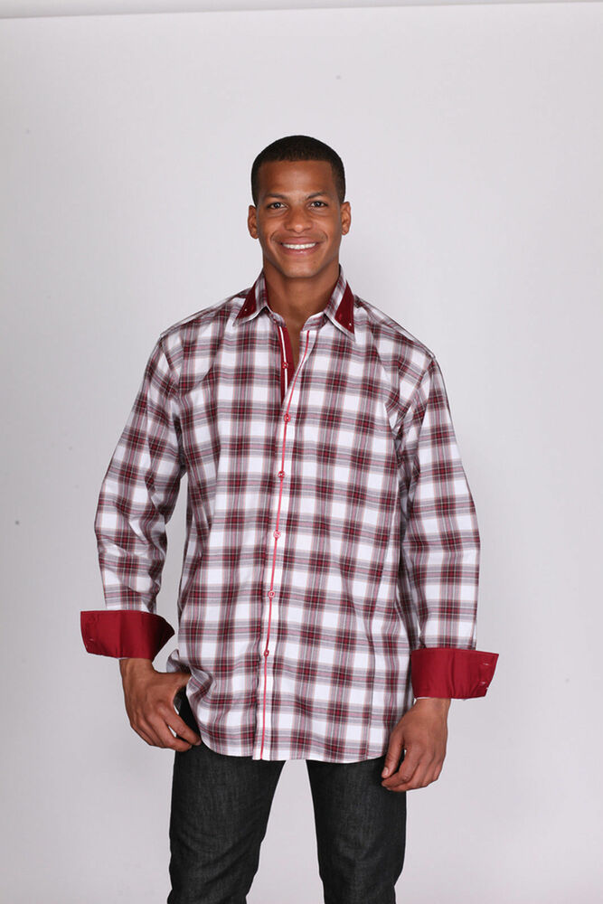 Mens fashionable dress shirt with buttoned collar plaid for Mixed plaid shirt mens