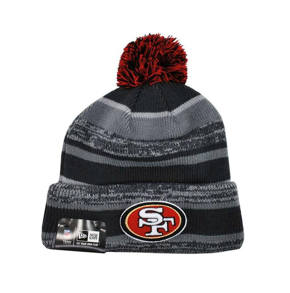 new era men u0026 39 s nfl san francisco 49ers beanie hat stripes knit pom one size gray