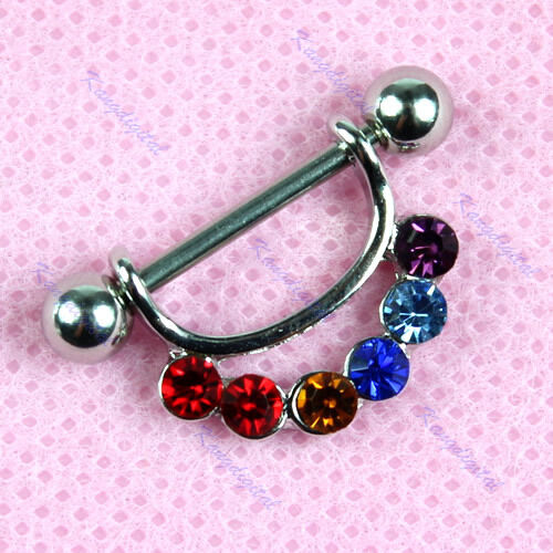 surgical steel colorful rhinestone nipple shields bar body