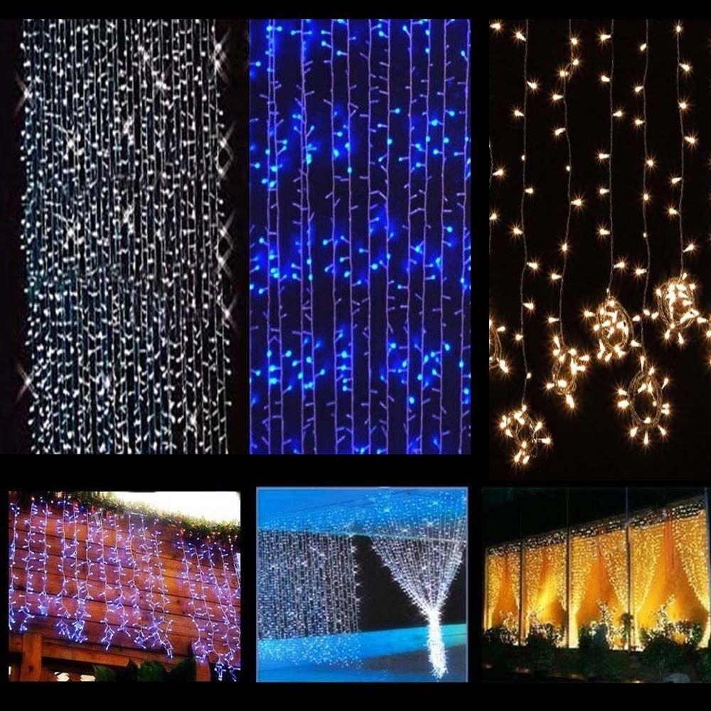 416/832/1248/2400 LED Fairy String Curtain Light Lamp Halloween Xmas Party Decor eBay