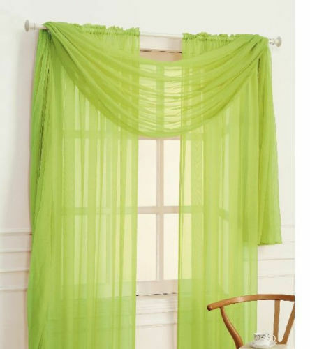 Lime Green Kitchen Curtains: 2 LIME GREEN VOILE SHEER 1 SCARF VALANCE SOLID PANEL