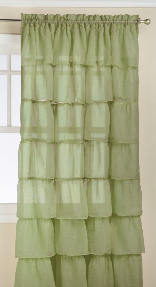Two 2 Gypsy Ruffled Sheer Curtain Panels Sage Green 60 Wide By 84 Long Ebay