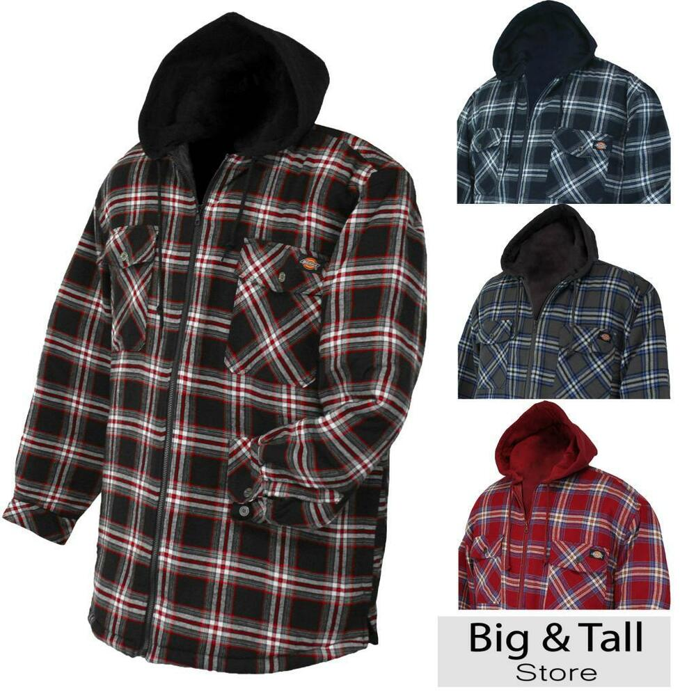 Big men 39 s dickies hooded flannel jacket quilted lining 3xl for Men flannel shirt jacket with quilted lining