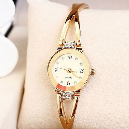 Women 39 s chic rose gold plated rhinestone bracelet dial for Is gold plated jewelry worth anything