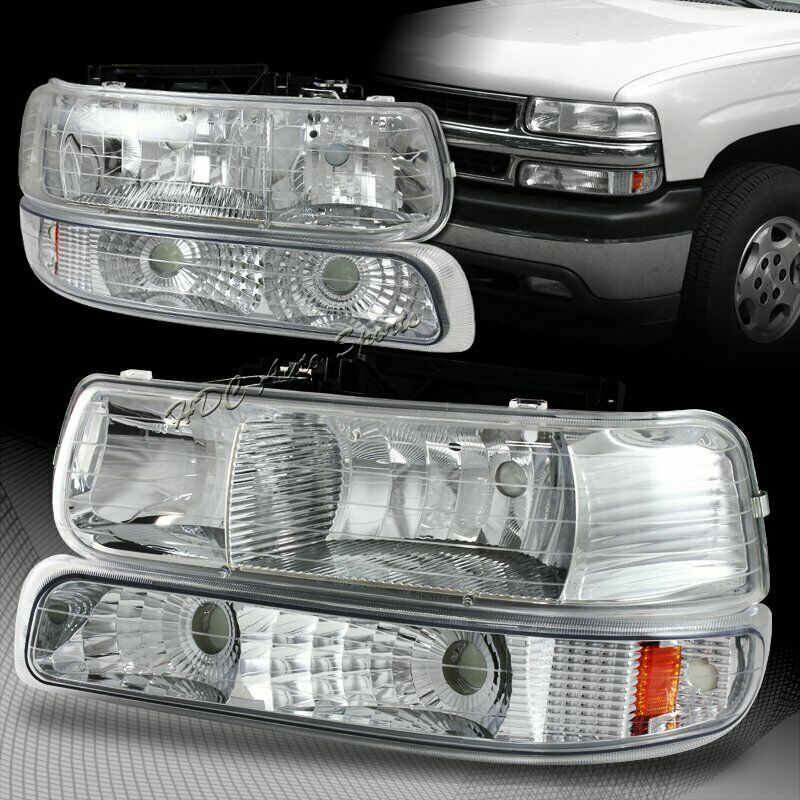for 1999 2002 chevy silverado 2 chrome housing headlights bumper ls ebay