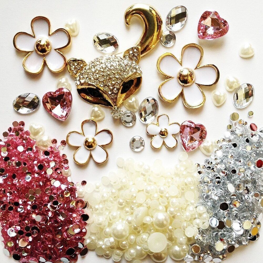Diy 3d bling cell phone case deco kit rhinestone fox and for 3d decoration for phone cases