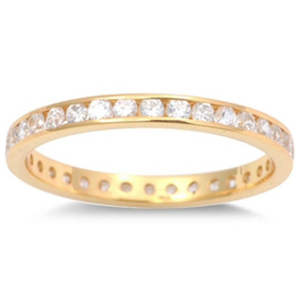 yellow gold plated cz eternity band 925 sterling silver. Black Bedroom Furniture Sets. Home Design Ideas