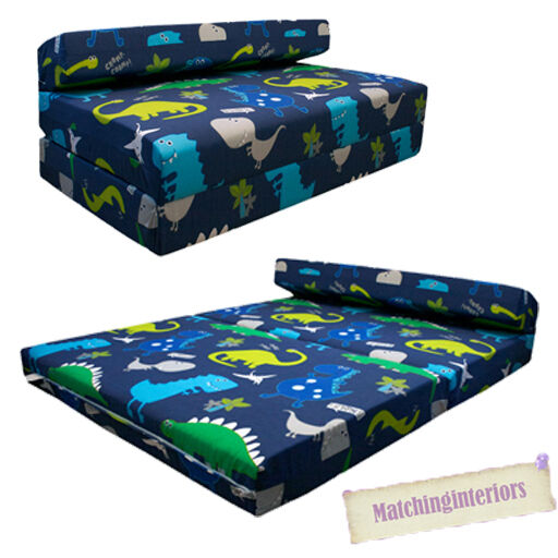 Double Kids Folding Guest Bed Dinosaurs Blue Boys Sofabed