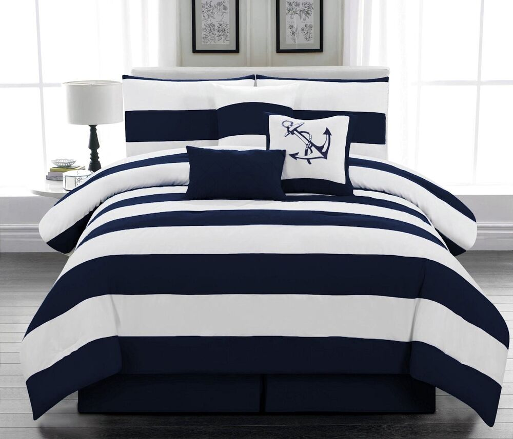 7 piece microfiber nautical comforter set navy blue white striped queen size ebay. Black Bedroom Furniture Sets. Home Design Ideas
