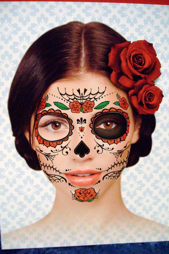 day of the dead dia de los muertos temporary face tattoo