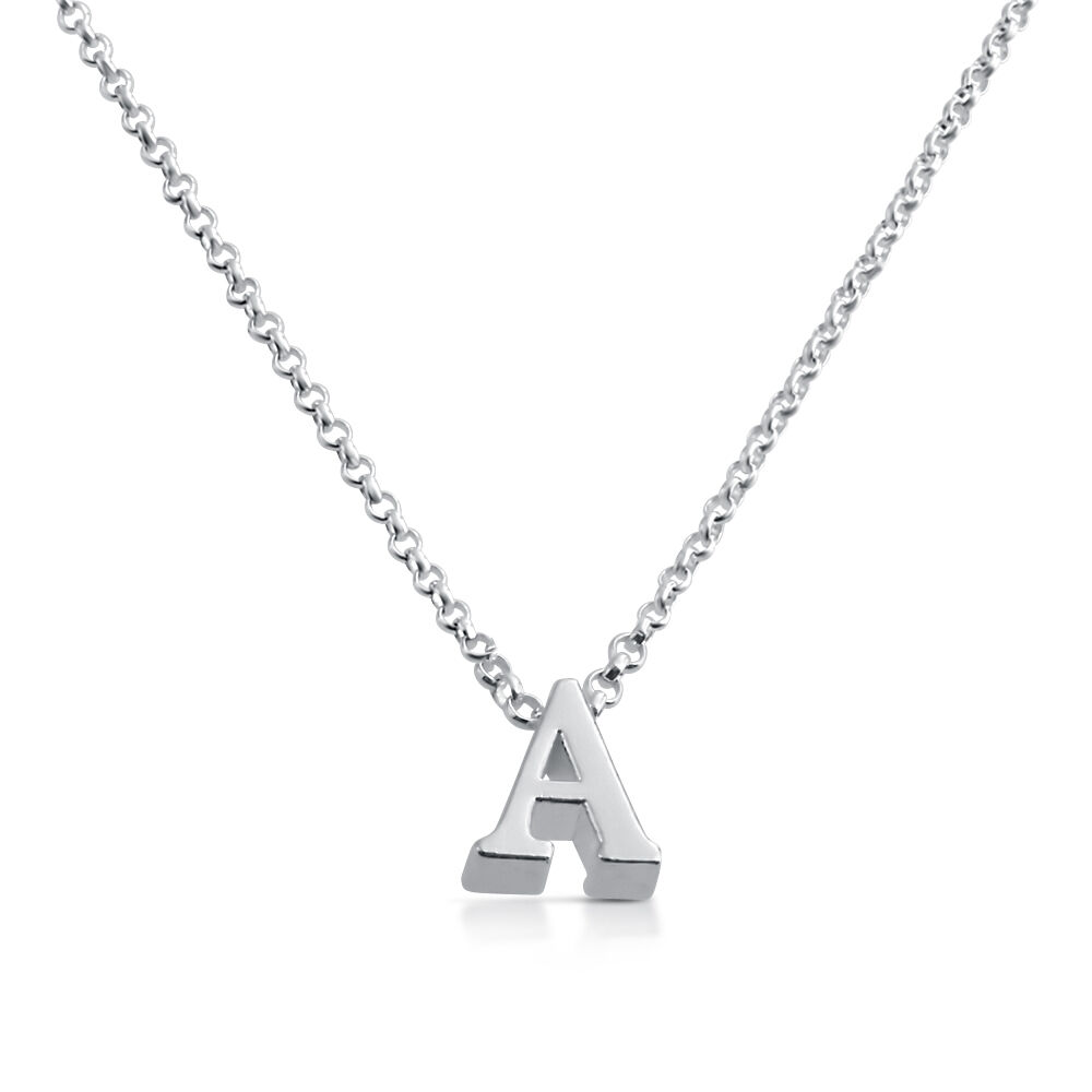 Alphabet Jewelry: Sterling Silver Initial Pendant Alphabet Letter Personalized Necklace Azaggi 597