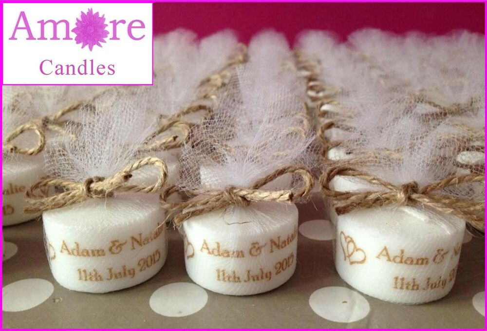 Personalised Vintage Style Tealight Candles Wedding Favours Set Of 10