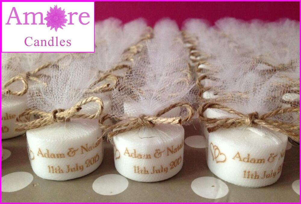 Personalised Vintage Style Tealight Candles Wedding Favours (Set