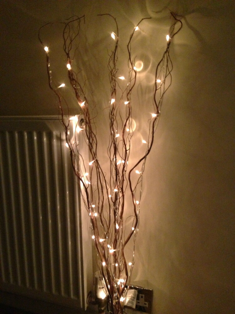 Decorative 5 brown branch twig lights with 50 white lights for Decoration sticks