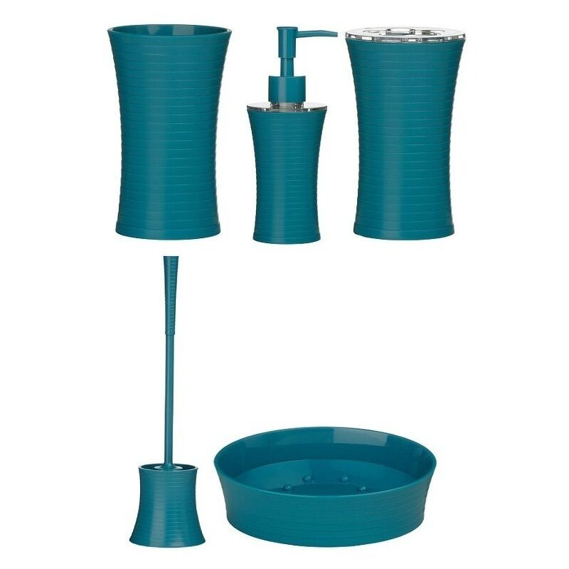 Turquoise Lotion Dispenser Toilet Brush Soap Dish Bathroom Accessories Set  New | EBay