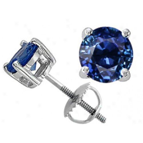 all size 39 s 14k white gold blue sapphire round cut stud. Black Bedroom Furniture Sets. Home Design Ideas