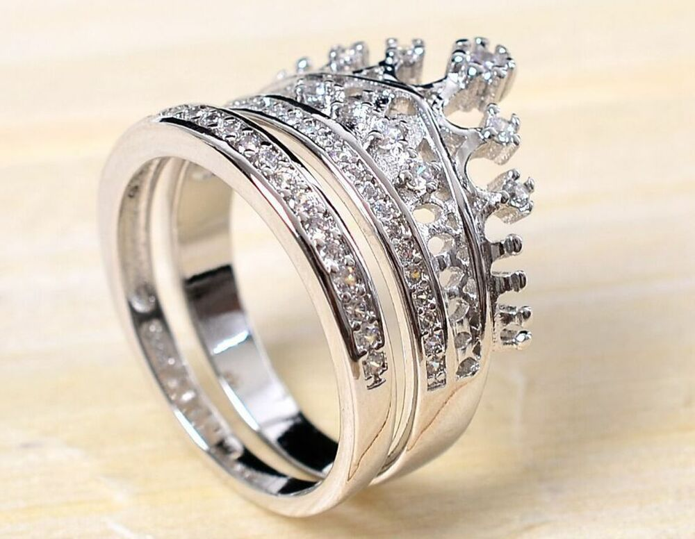 ebay wedding rings fashion royal 2 in 1 set quot crown quot cz silver wedding 3811