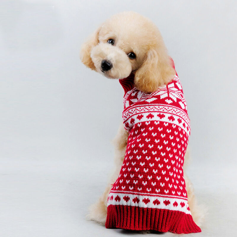 Pet dog warm snowflake sweater clothes puppy cat knitwear costume coat