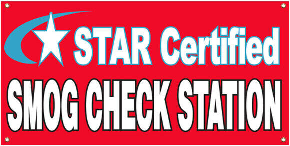 2x4 ft Vinyl Banner Sign New STAR CERTIFIED SMOG CHECK