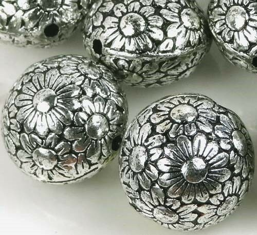 Black Flower Round Up: 10 Large Antique Silver Metal Plated Acrylic Flower Flat