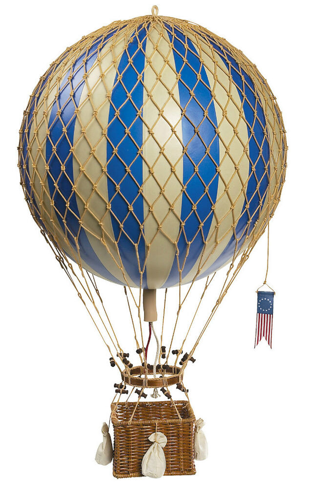 Blue white striped hot air balloon model hanging for Air balloon decoration