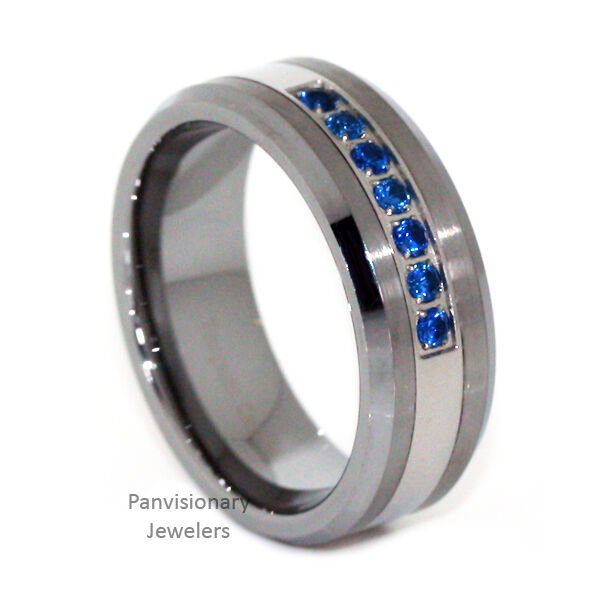 Thin Blue Line Ring Tungsten Carbide Mens 7 Stone Blue CZ 8mm Wedding Band