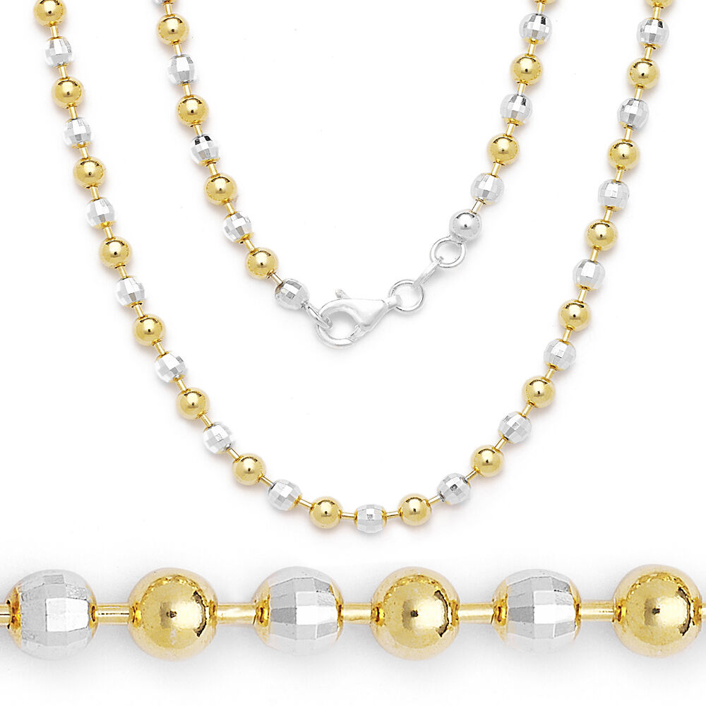 Necklace Beads: 2mm Ball Faceted Bead Chain Necklace 925 Italy Sterling