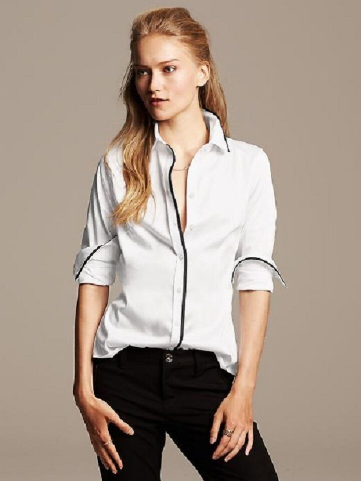 Banana Republic 69 Non Iron Framed Sateen Fitted Blouse