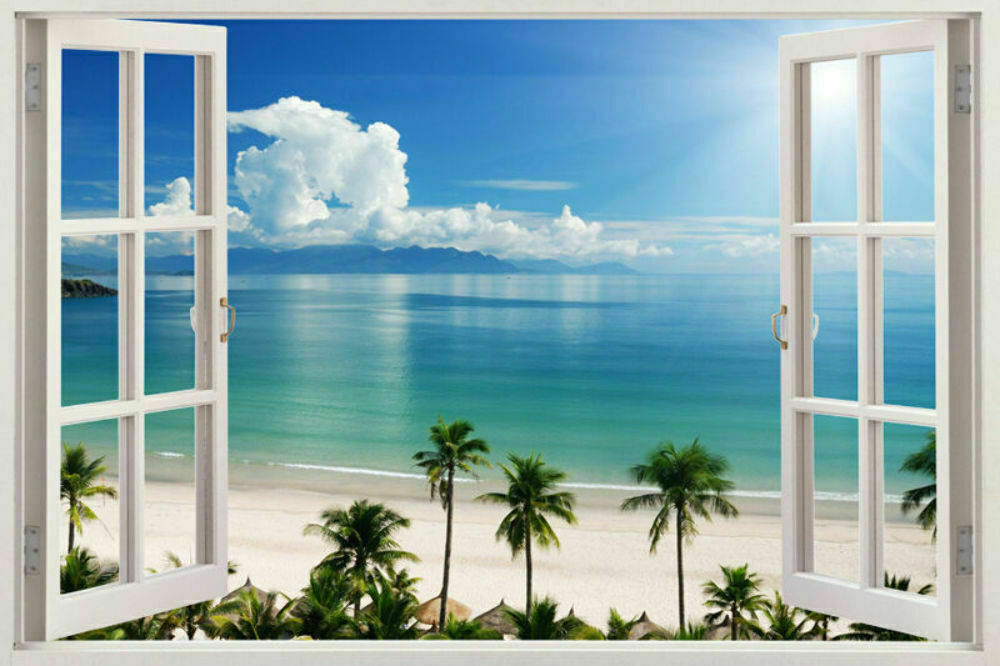 3d window decal wall sticker home decor exotic beach view for Door mural stickers