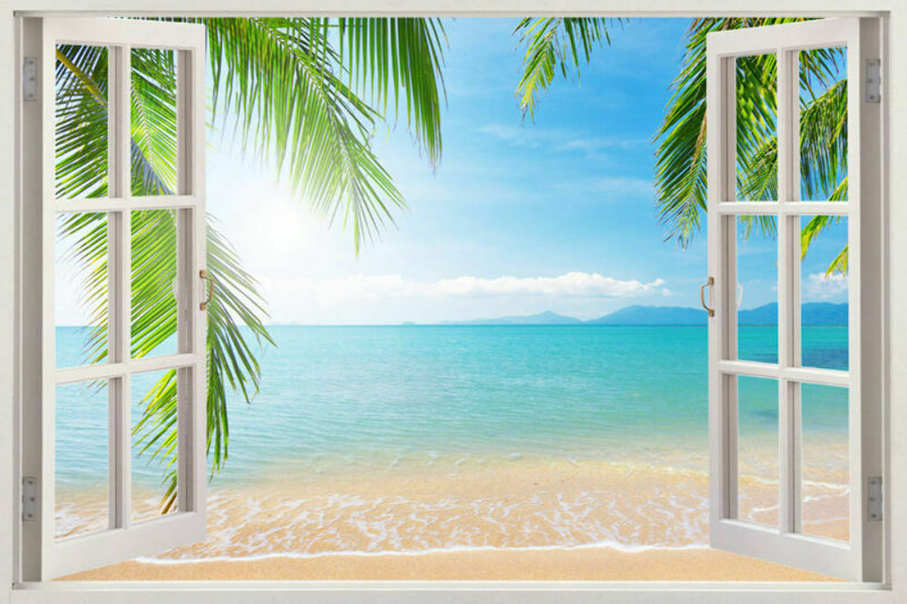 3D WINDOW 3D Palm Beach Window Wall Art Stickers Vinyl Decal Home View Removable