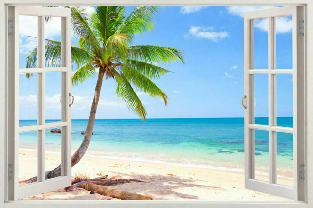 New art 3d window exotic beach view art mural decal wall for Beach view wall mural
