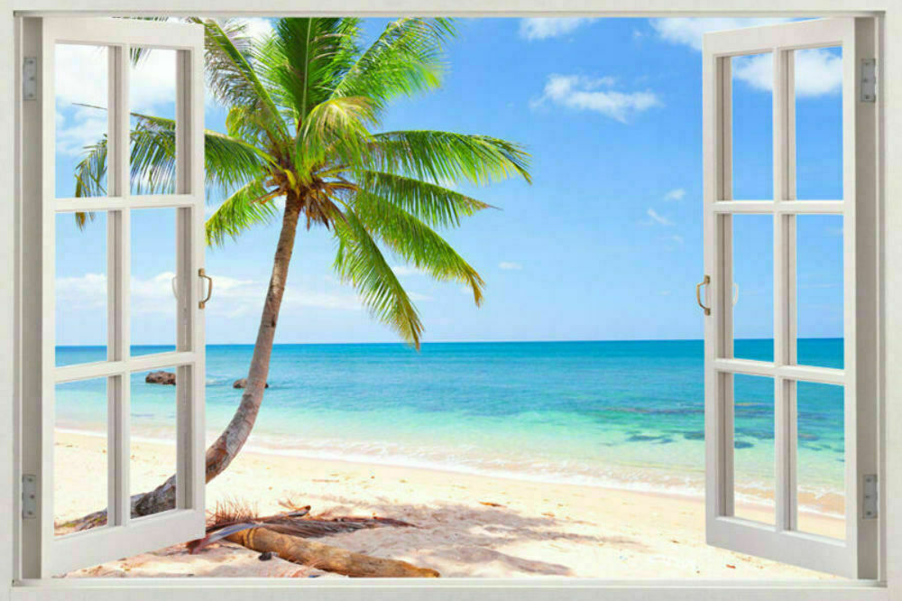 New art 3d window exotic beach view art mural decal wall for Beach wall mural sticker