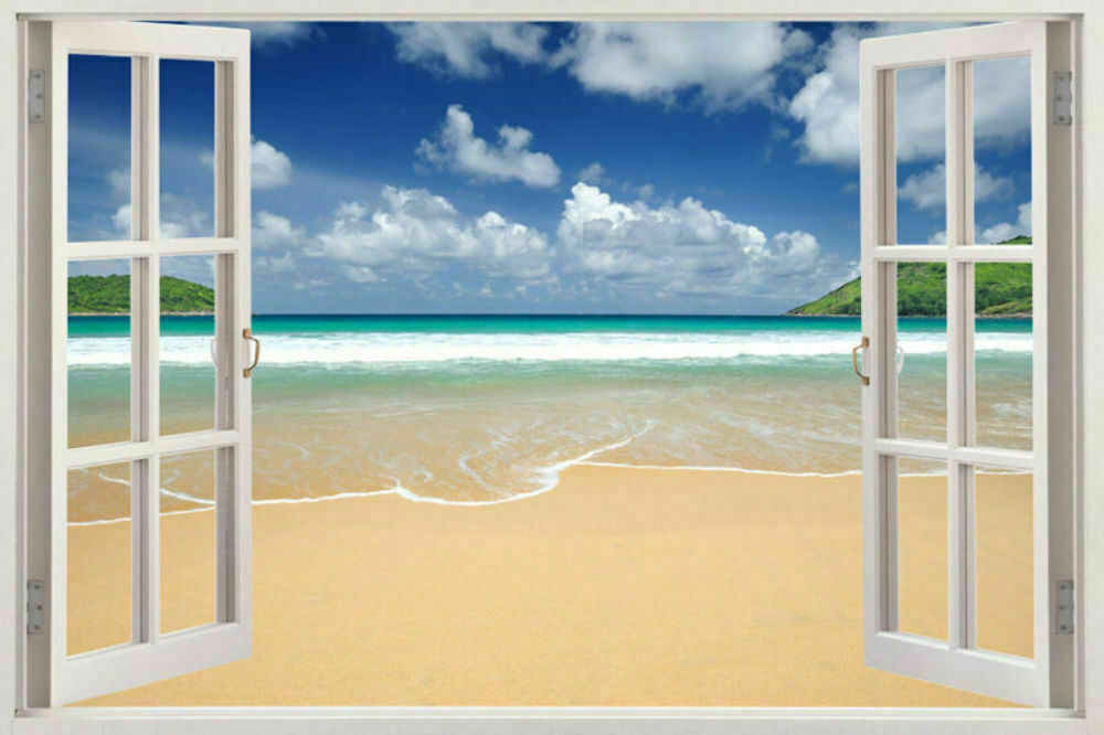 3d window frame peel and stick mural wall art beach scene for Beach wall mural sticker