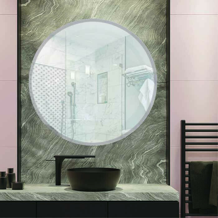 Round Frameless Beveled Edge Wall Mirror Bathroom Unframed