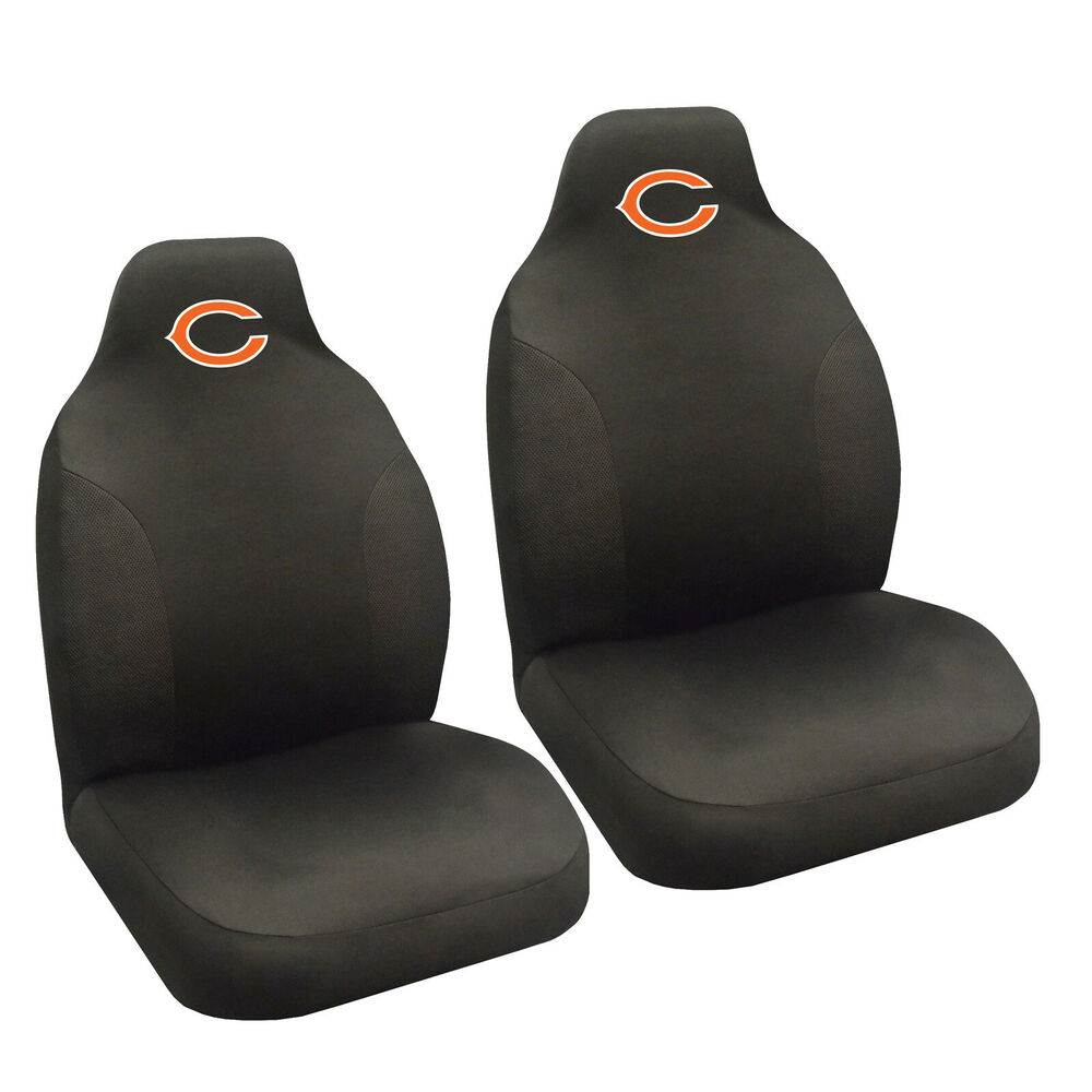 new nfl chicago bears 2 front universal fit car truck bucket seat covers ebay. Black Bedroom Furniture Sets. Home Design Ideas