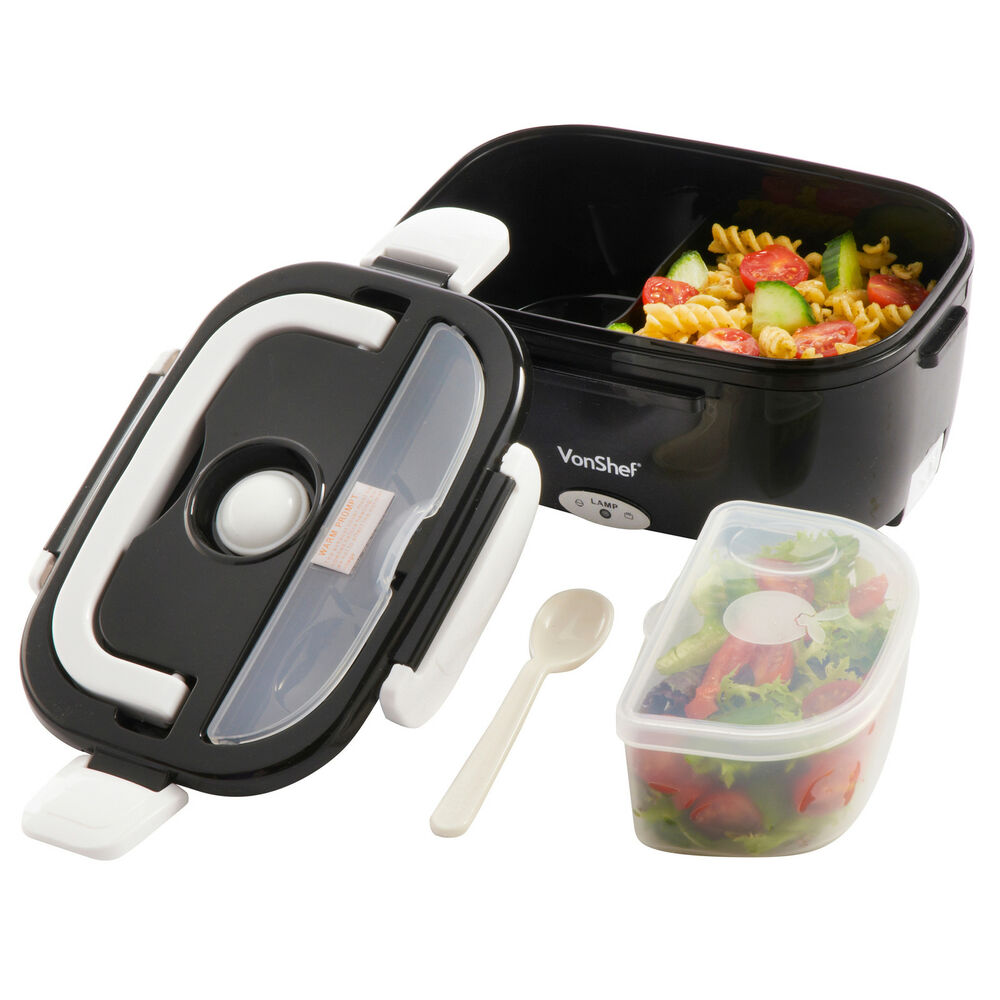 vonshef bento box electric heated portable compact food