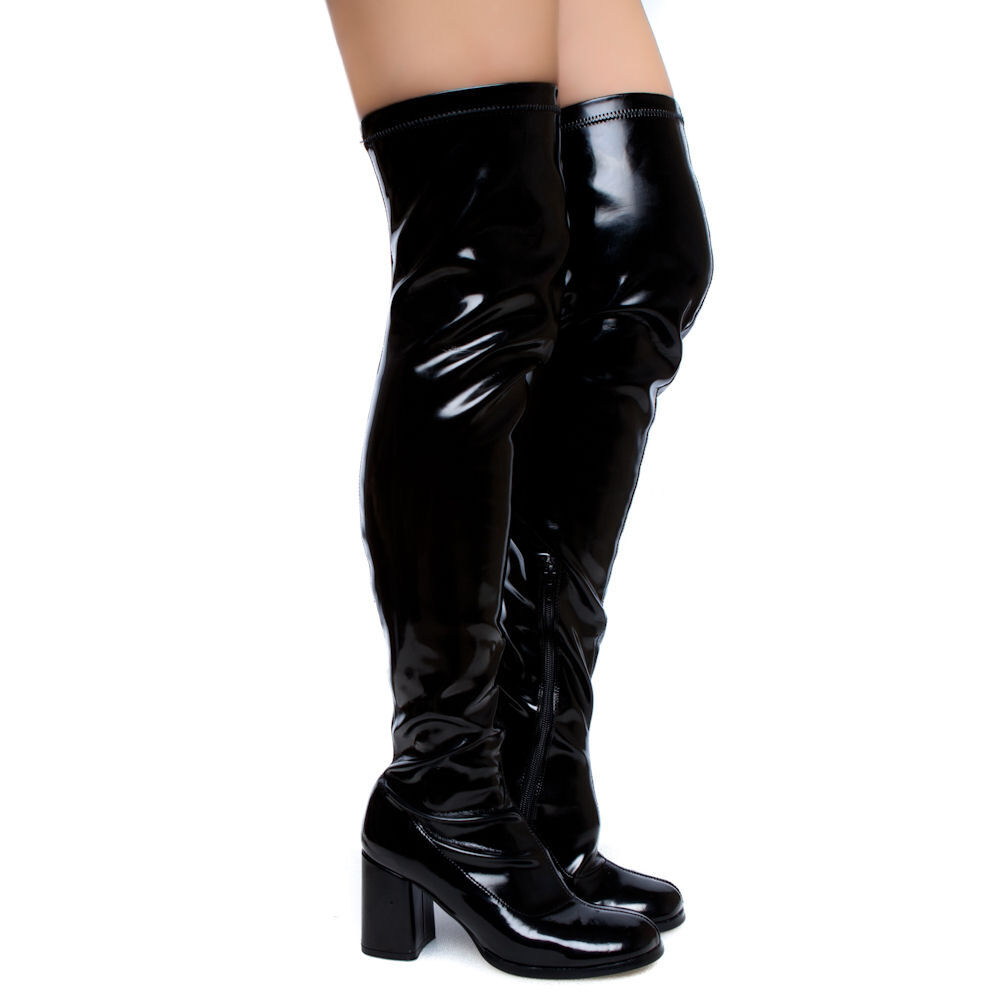 black patent stretched gogo thigh high 3 quot heel