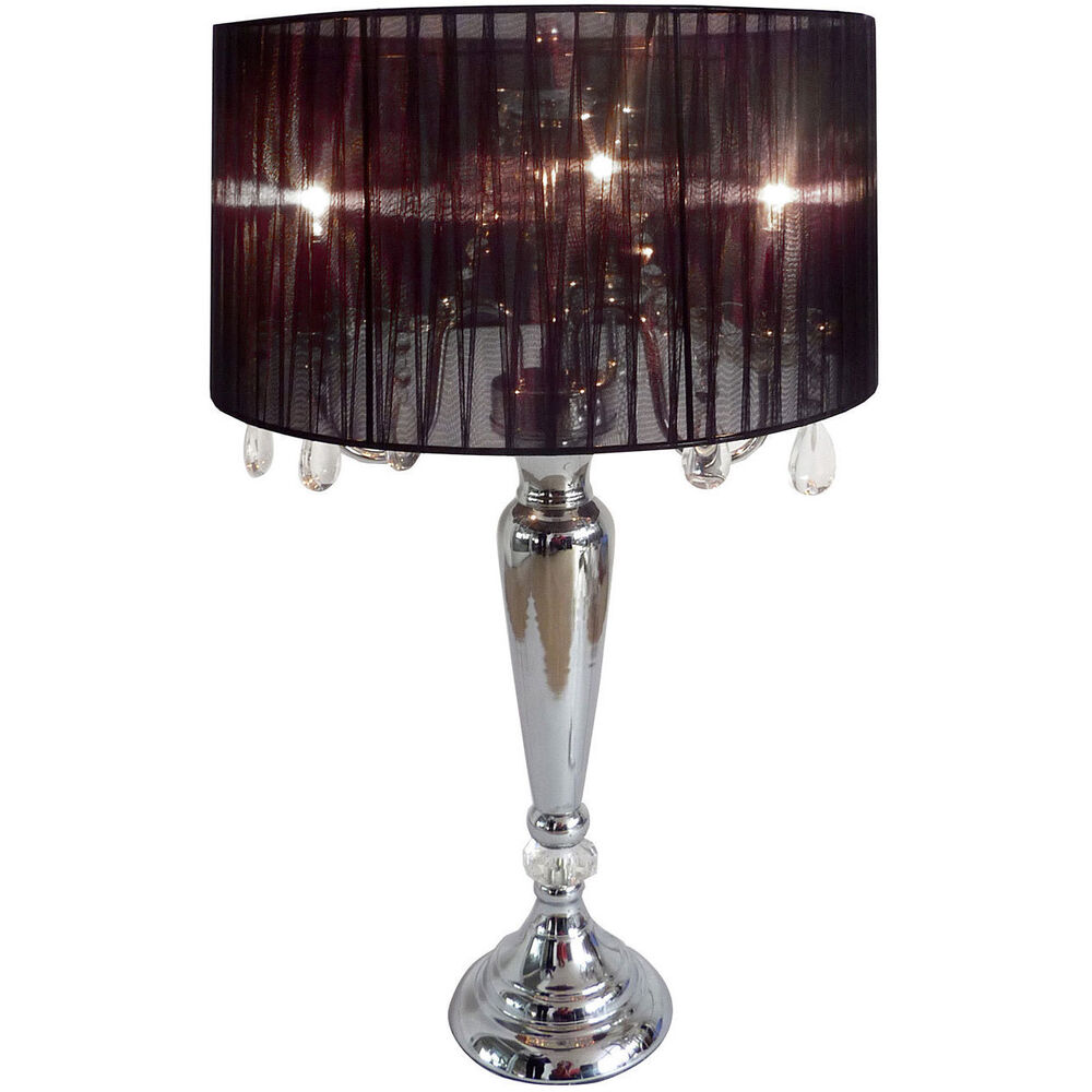 Elegant Designs Hanging Crystals Sheer Shade Table Lamp Ebay
