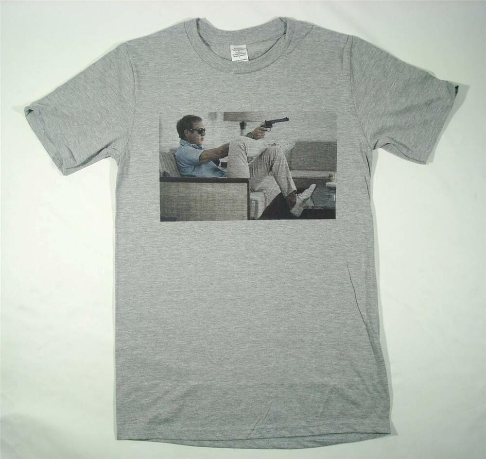 steve mcqueen grey t shirt size small xxxl retro vintage 39 the king of cool 39 ebay. Black Bedroom Furniture Sets. Home Design Ideas