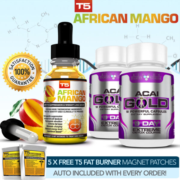 AFRICAN MANGO SERUM + ACAI GOLD DETOX- STRONGEST LEGAL SLIMMING / DIET PILLS ALT