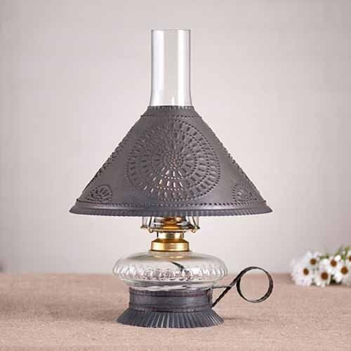 Electrified Oil Lamp - Blackened Tin
