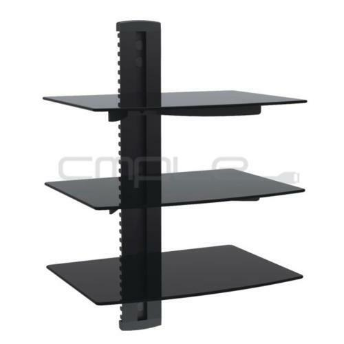 3 tier triple glass shelf wall mount bracket under tv. Black Bedroom Furniture Sets. Home Design Ideas