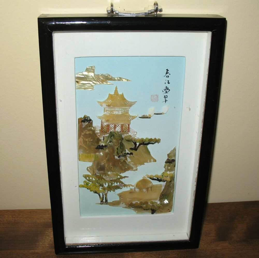 framed vintage chinese mother of pearl shell picture house. Black Bedroom Furniture Sets. Home Design Ideas
