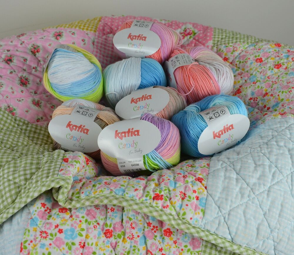 Crochet Patterns Cotton Yarn : KATIA CANDY For BABY Cotton 4Ply Crochet & Knitting Yarn -Choose ...