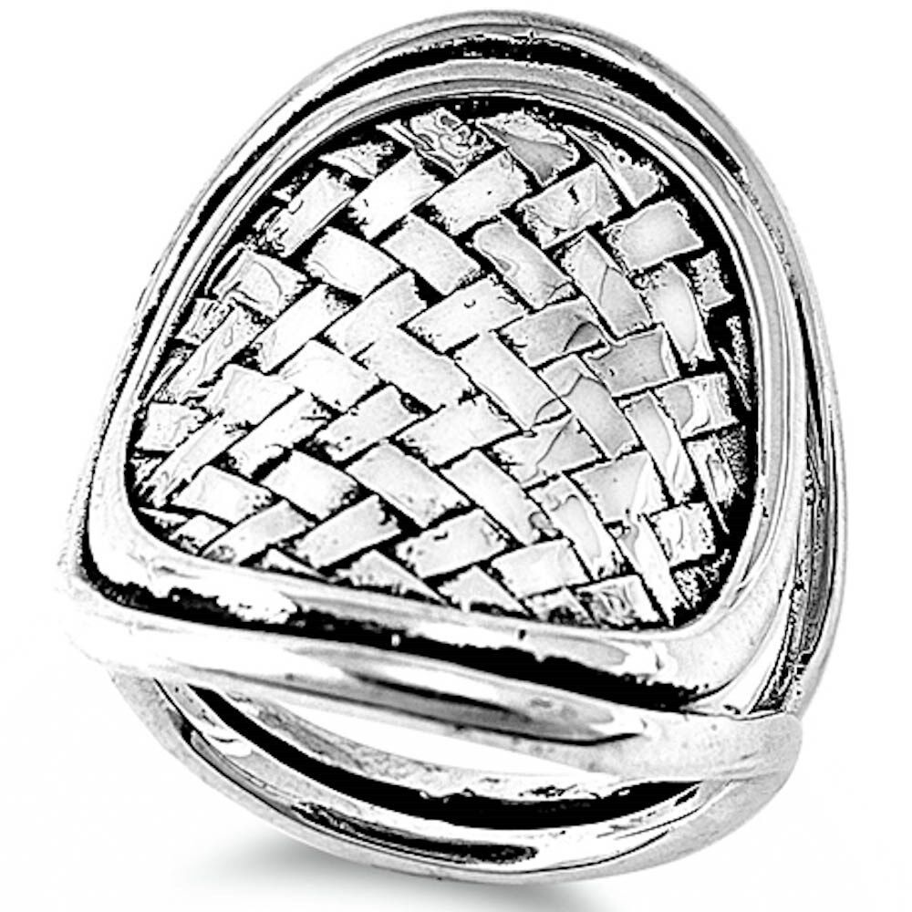 solid basket weave design 925 sterling silver ring sizes