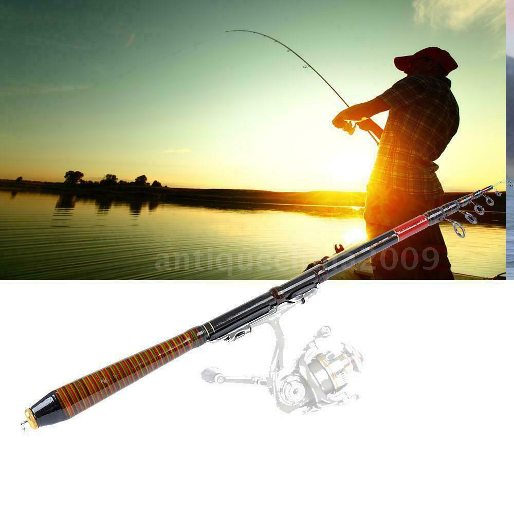 Portable carbon telescopic spinning casting pole saltwater for Salt water fishing poles