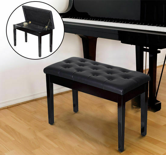 Homcom Classic Piano Bench Padded Seat Stool Solid Wood Wooden New Black White Ebay