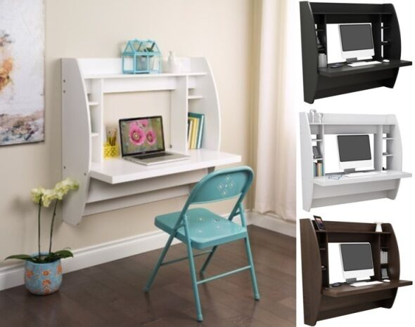 wall mounted floating computer student desk kids desks bedroom dorm furniture ebay. Black Bedroom Furniture Sets. Home Design Ideas