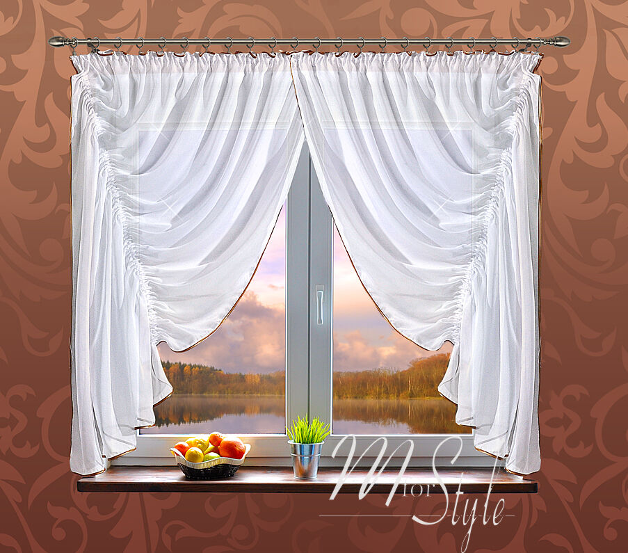 beautiful german voile net curtain set white gold ready made ebay. Black Bedroom Furniture Sets. Home Design Ideas